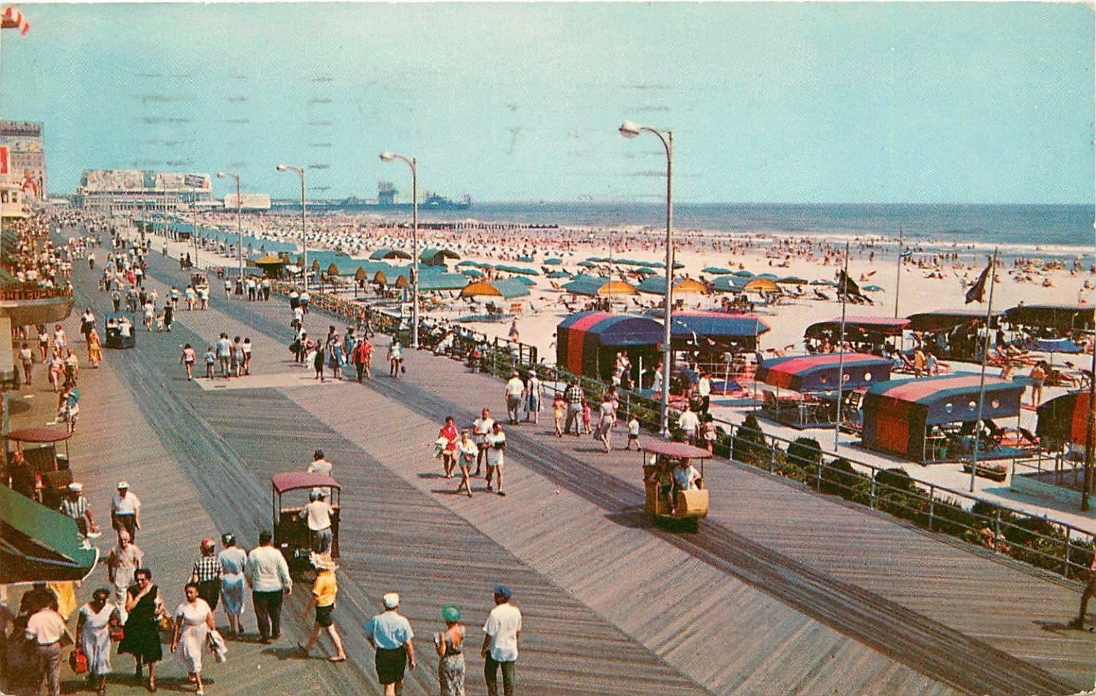 Atlantic City Boardwalk Beach Pm 1960s Nj New Jersey Postcard In United States New Jersey Other Atlantic City Boardwalk Beach Boardwalk Boardwalk