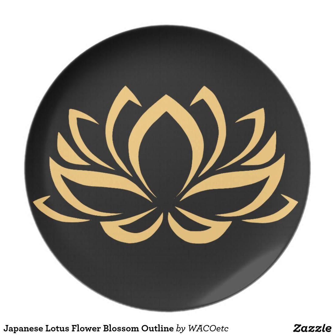 Japanese Lotus Flower Blossom Outline Plate Tattoo Pinterest