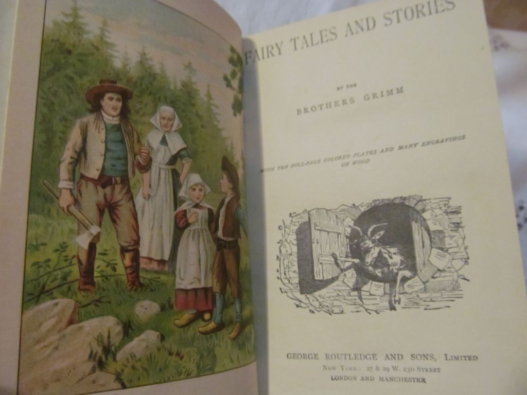 Grimm's Fairy Tales and Stories by the Brothers Grimm with ten full page colored plates and many engravings on wood, published by George Routledge and