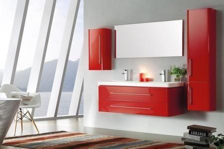 Meuble salle de bain double vasque rouge laqué brillant, 120 cm, EMY