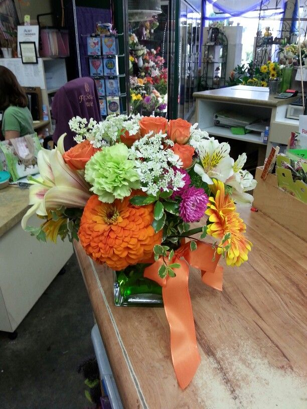 Orange green pink flower arrangement for wedding and events my orange green pink flower arrangement for wedding and events mightylinksfo