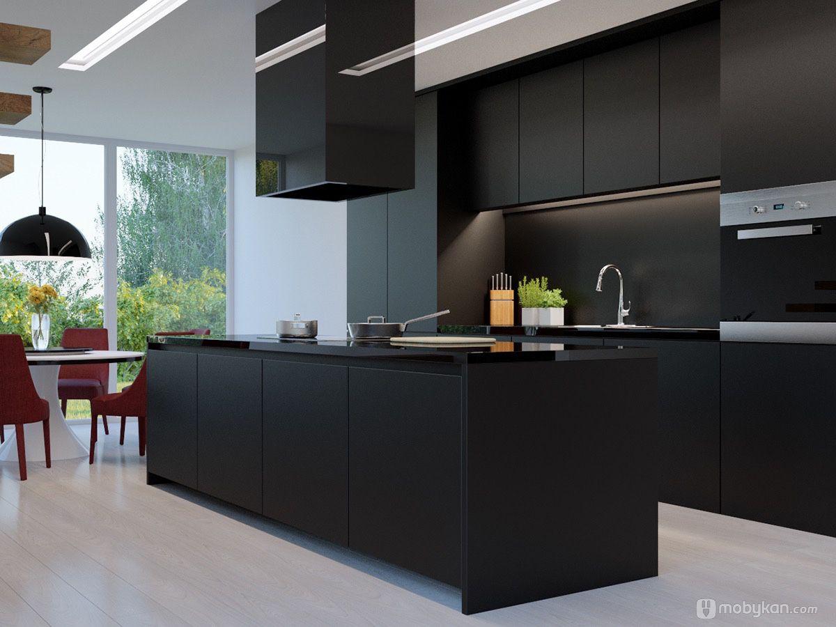 صور مطابخ حديثه و اشكال مطابخ مودرن و مميزه من موبيكان Modern Black Kitchen Contemporary Black Kitchen Matte Black Kitchen
