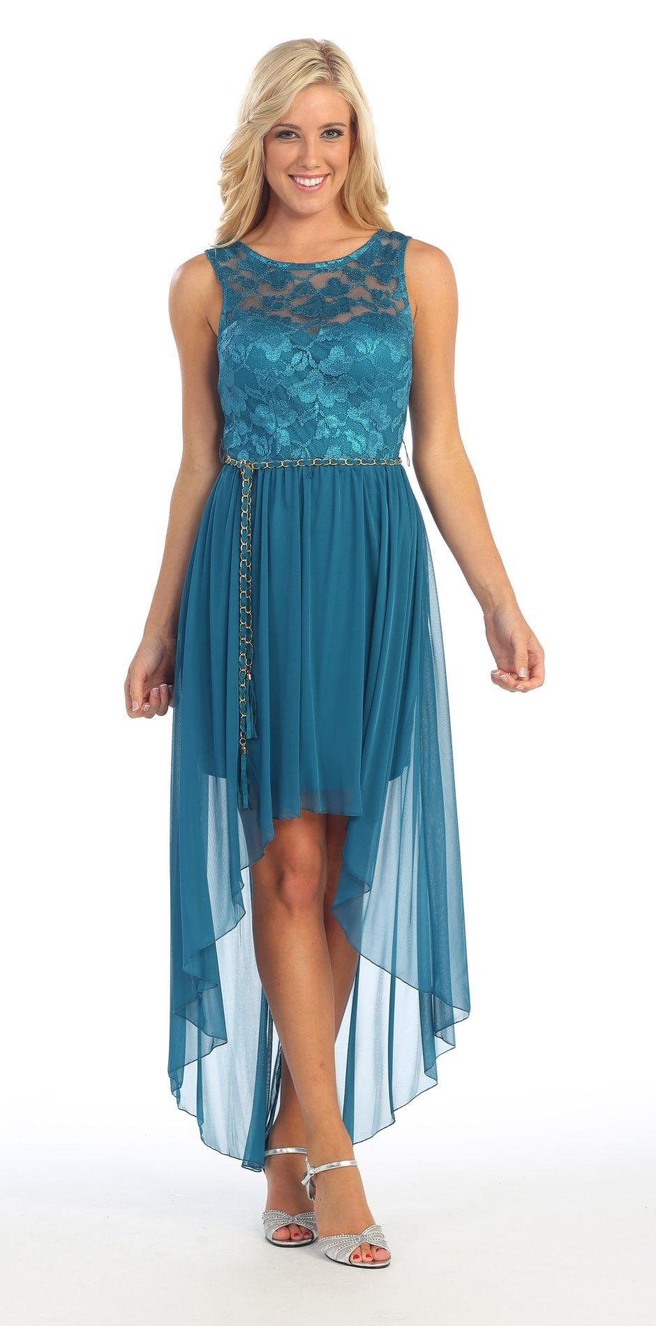 High Low Teal Dress Chiffon Lace Top Wide Strap Illusion Neck $99.99 ...