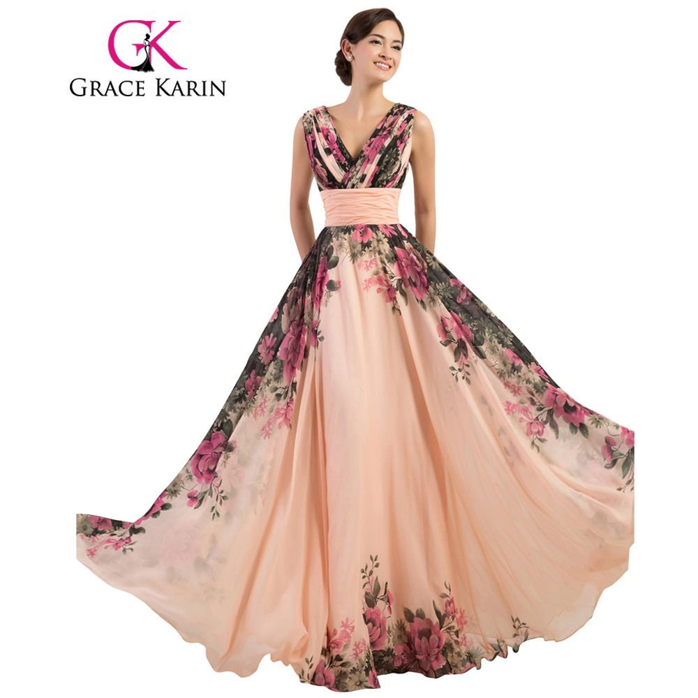 Click to buy ucuc grace karin prom dress long flower printed cheap