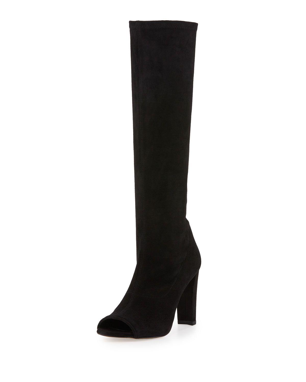 Peking Peep-Toe Knee Boot, Black, Women's, Size: 5.5B/35.5EU, Black Suede - Stuart Weitzman