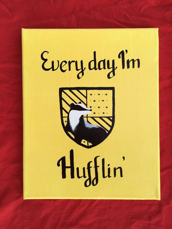 Hufflepuff Crest Acrylic Canvas Painting 10x8 In 2019