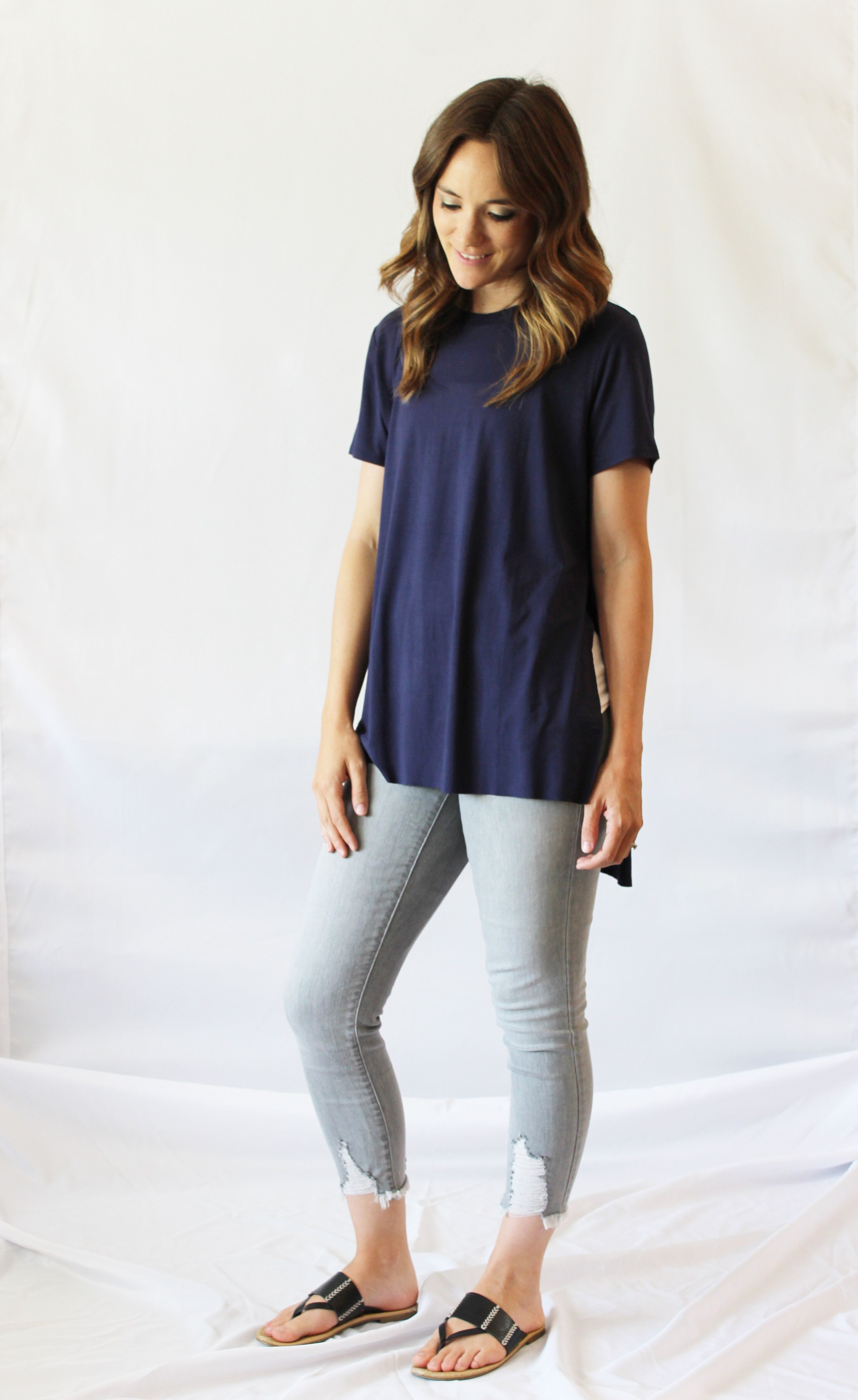 4a3b96785aa5f Navy Tunic Tee. The side slits provide easy breastfeeding access and  accommodate a pregnancy belly. You can lift just the front of the shirt to  nurse, ...