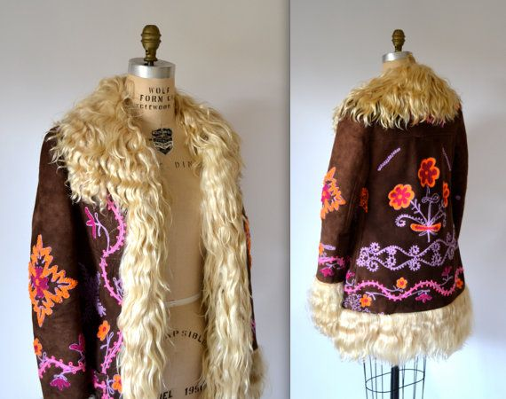 Vintage Embroidered Shearling Jacket Size Small// Vintage 70s ...
