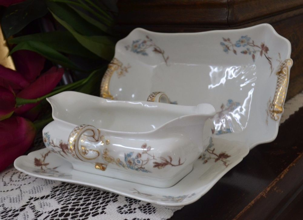 Antique Late 1800u0027s CFH/GDM Limoges France Gravy Boat W/Plate and Vegetable Bowl & Antique Late 1800u0027s CFH/GDM Limoges France Gravy Boat W/Plate and ...