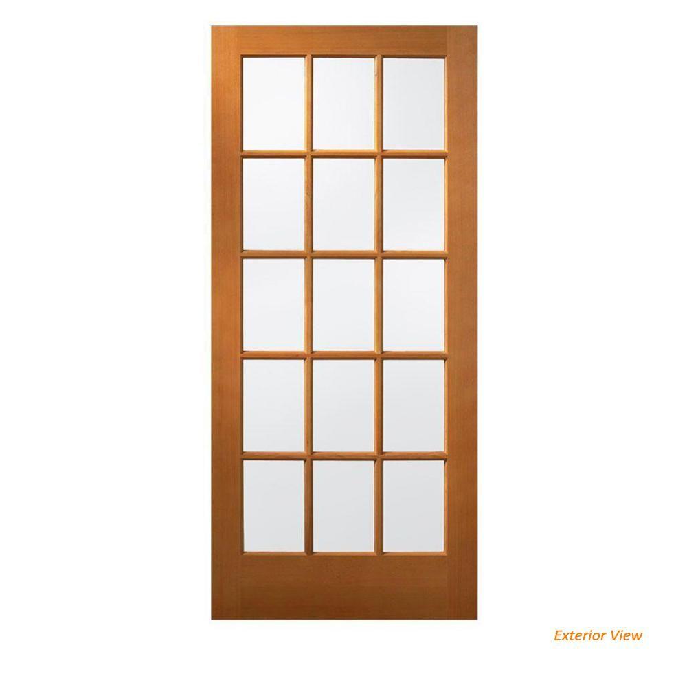 Jeld Wen 36 In X 80 In 15 Lite Unfinished Wood Front Door Slab Thdqc235600007 Wood Front Doors Wood Exterior Door Exterior Wood