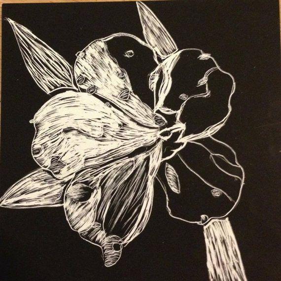 5X5 Flower Petal Scratchboard Original by ArtWorkByCMorgan on Etsy, $18.00