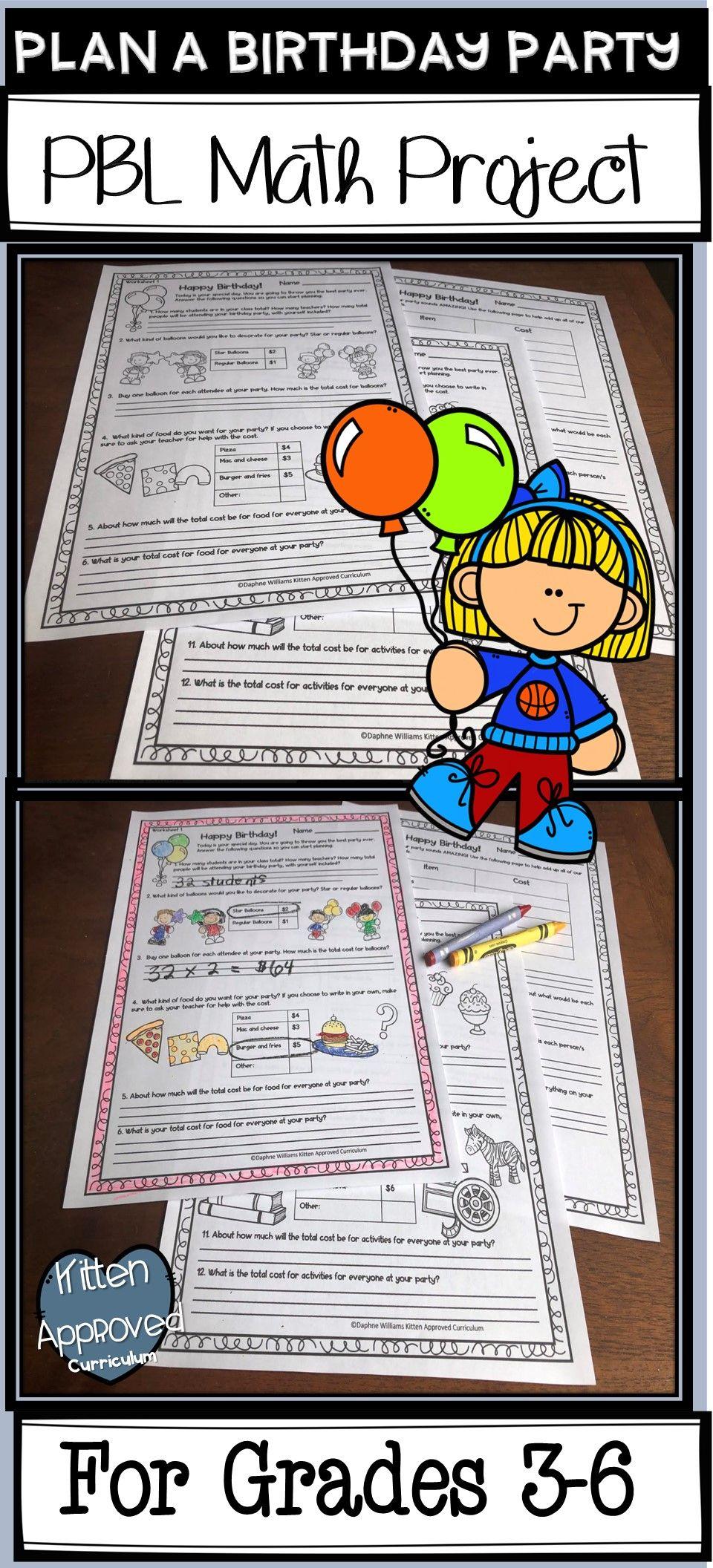 Birthday Math Activities Project Based Learning Plan A Party Project Project Based Learning Project Based Learning Math Math Projects