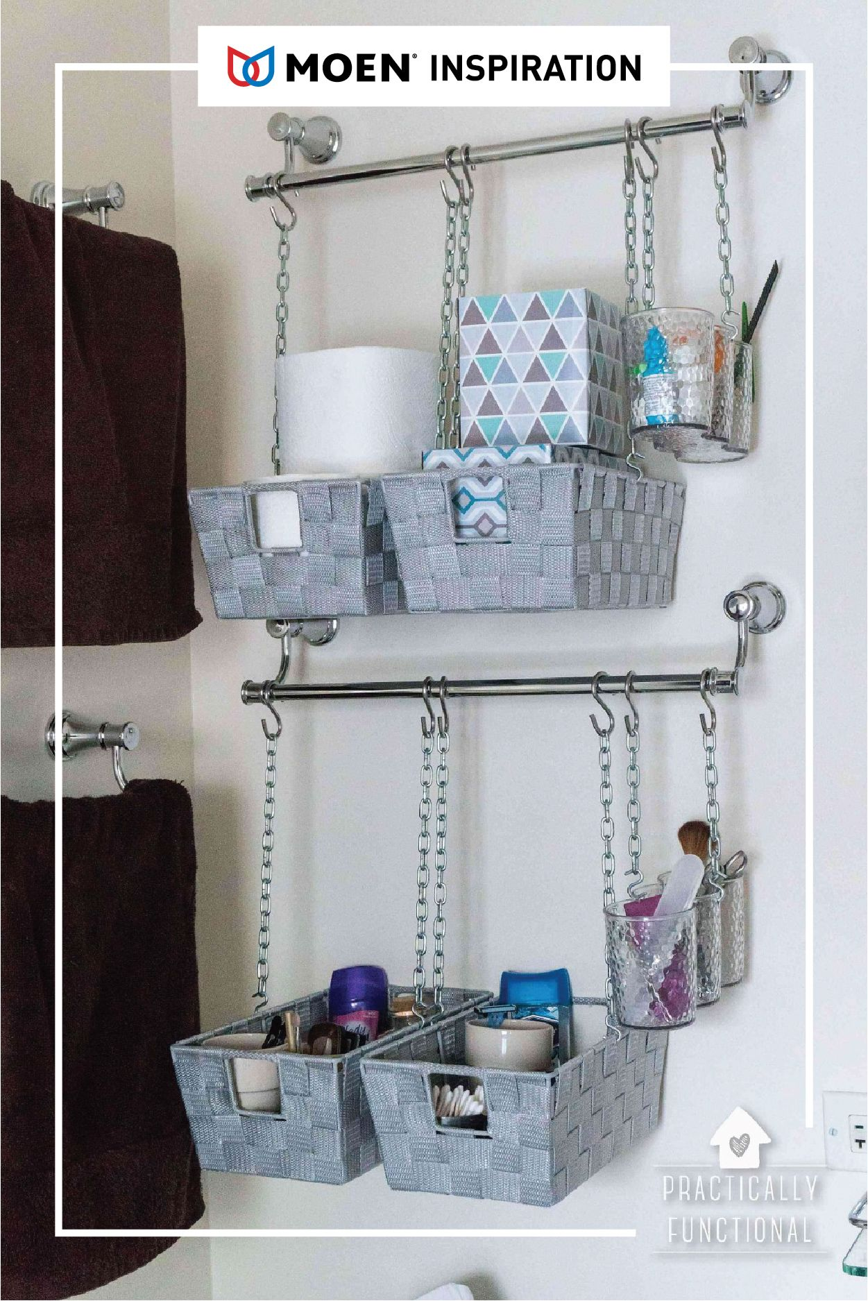 Home Hack For Your Bath Grab One Of Our Towel Bars And Follow This Tutorial From Practically Fun Hangeaufbewahrung Wc Lagerung Badezimmer Aufbewahrungssysteme