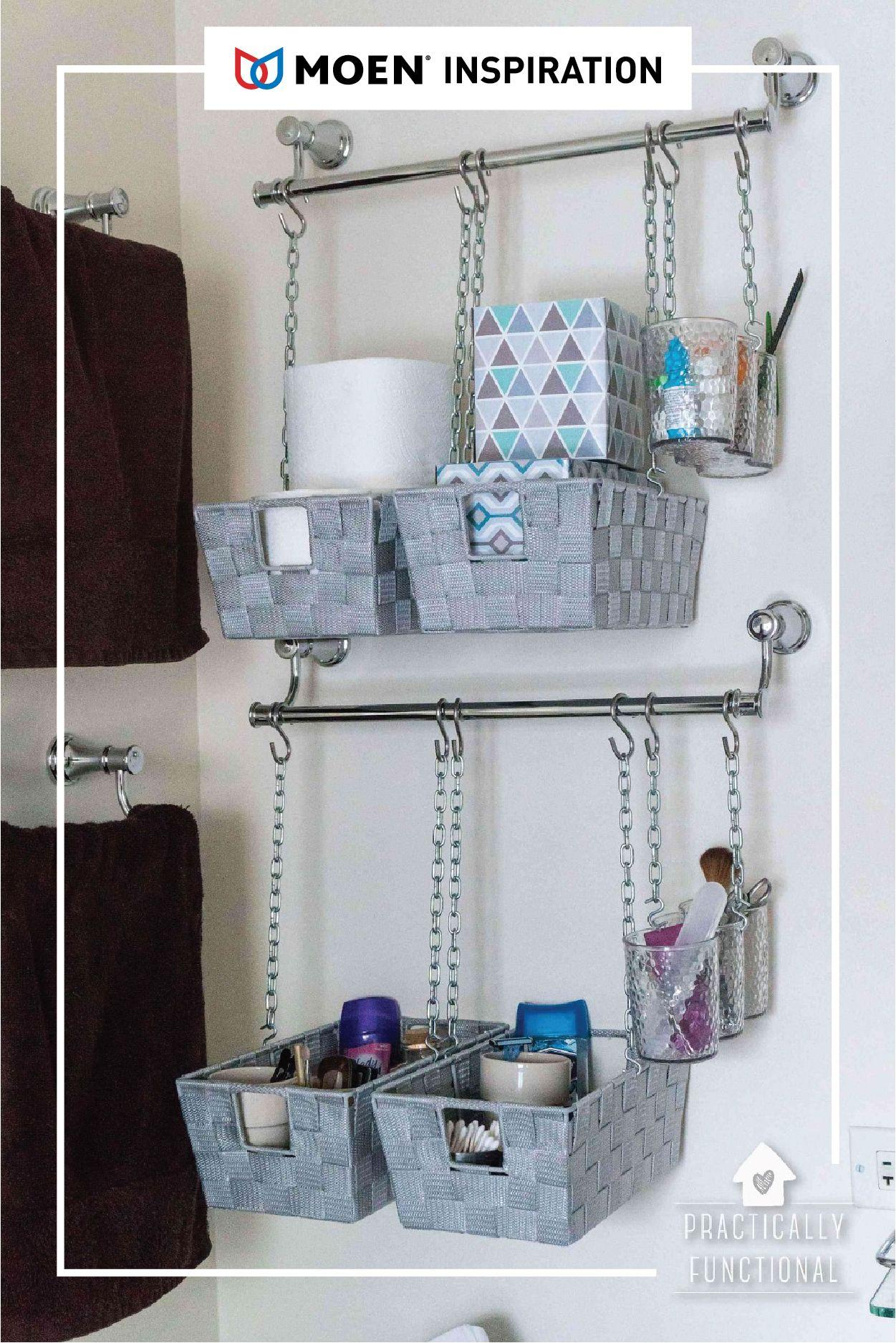 Using Shower Hooks To Hang Decorative Baskets From The Towel Racks Ingenious Bathroom Basket Storage Wall Basket Storage Bathroom Baskets