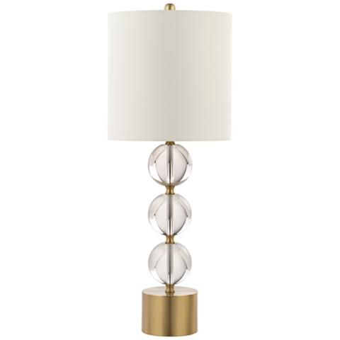 Slate polished brass and crystal table lamp 40c22 lamps plus