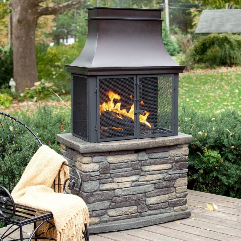 exterior design small functional outdoor wood burning fireplace