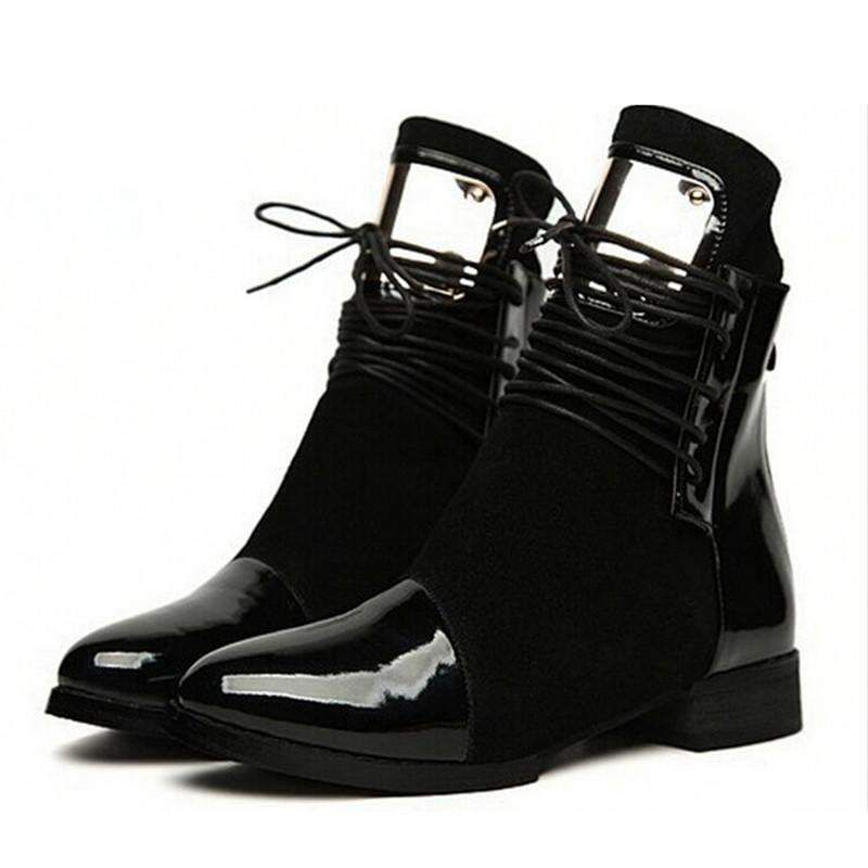 Stylish Flat Martin Ankle Leather Boots