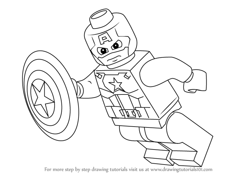 Learn How To Draw Falcon From Captain America Civil War: Learn How To Draw Lego Captain America (Lego) Step By Step