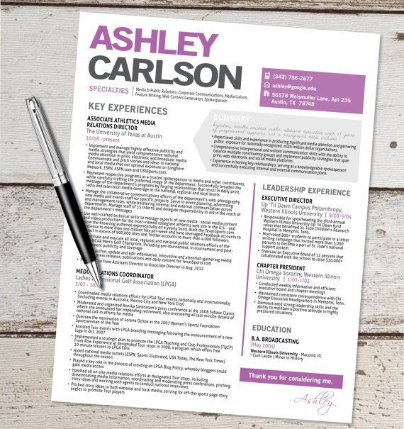 Marketing Resume Template The Ashley Resume Template Design  Graphic Design  Marketing