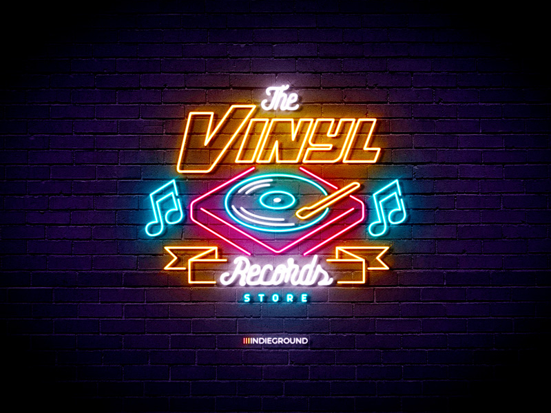 Neon Sign Effects For Photoshop Vinyl Records Store By Roberto Perrino On Dribbble In 2021 Neon Signs Neon Vintage Neon Signs