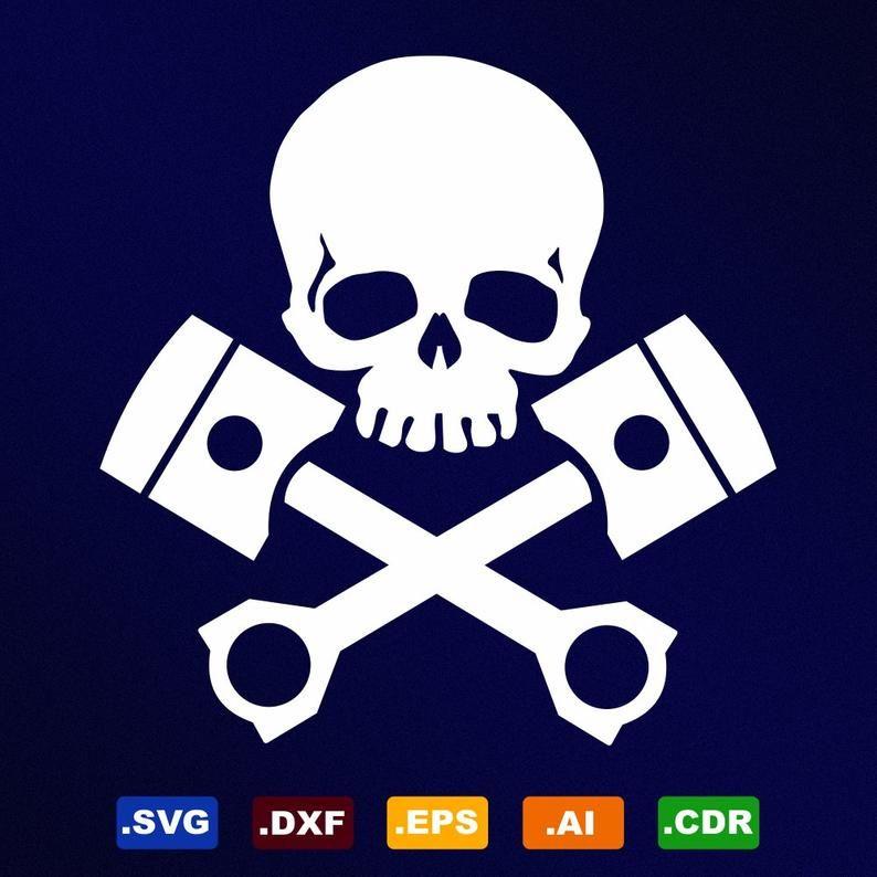 Tete De Mort Pistons Svg Dxf Eps Ai Cdr Des Fichiers Etsy In 2020 Vinyl Decals Vinyl Decal Stickers Skulls Drawing