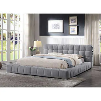 This Upholstered Bed Frame Keeps A Minimal Low Profile Silhouette That Works In Both Contemporary And Modern Bedroo Upholstered Bed Frame Upholstered Beds Bed