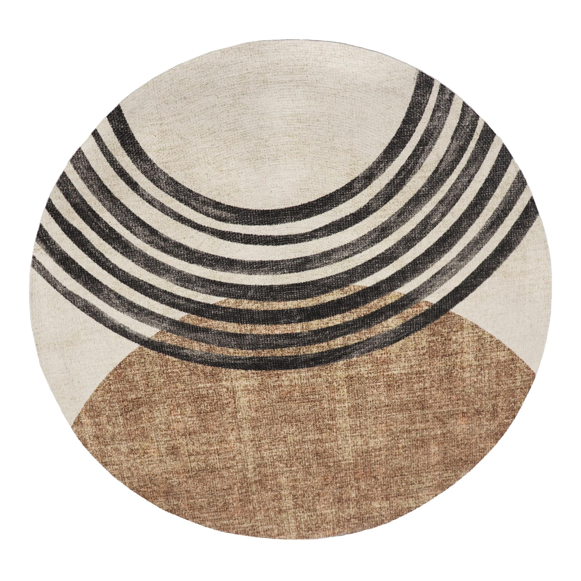 Amazon Com 1052 Brown 6 5x6 5 Area Rugs Modern Contemporary Abstract Black Ivory Beige Carpet Unique Area Rugs Contemporary Round Rugs Round Area Rugs