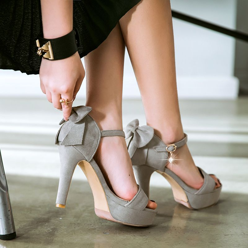 Womens Platform Sandals - Thin High Heels Summer Sandals - Ankle Wrap Buckle Shoes