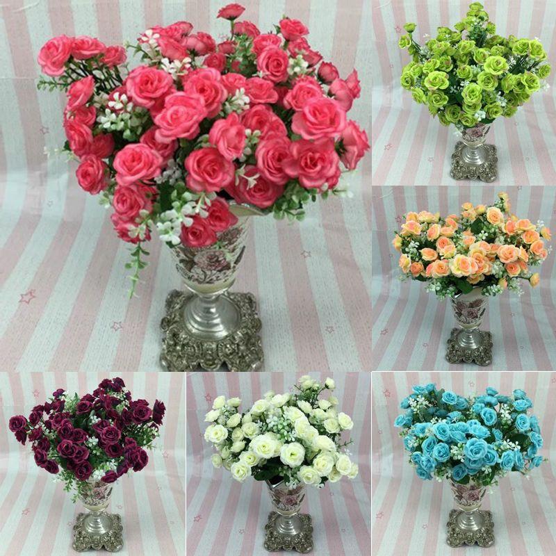 1 Bouquet 15 Head Artifical Plastic Rose Wedding Office Home Decor Silk Flower Silk Flowers Wedding Dried Flower Bouquet Wedding Fake Flowers Wedding