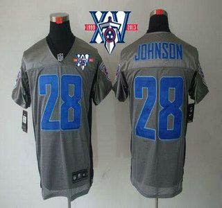 9f52470d6 Nike Tennessee Titans Jersey  28 Chris Johnson Grey Shadow With 15Th Season  Patch NFL Elite