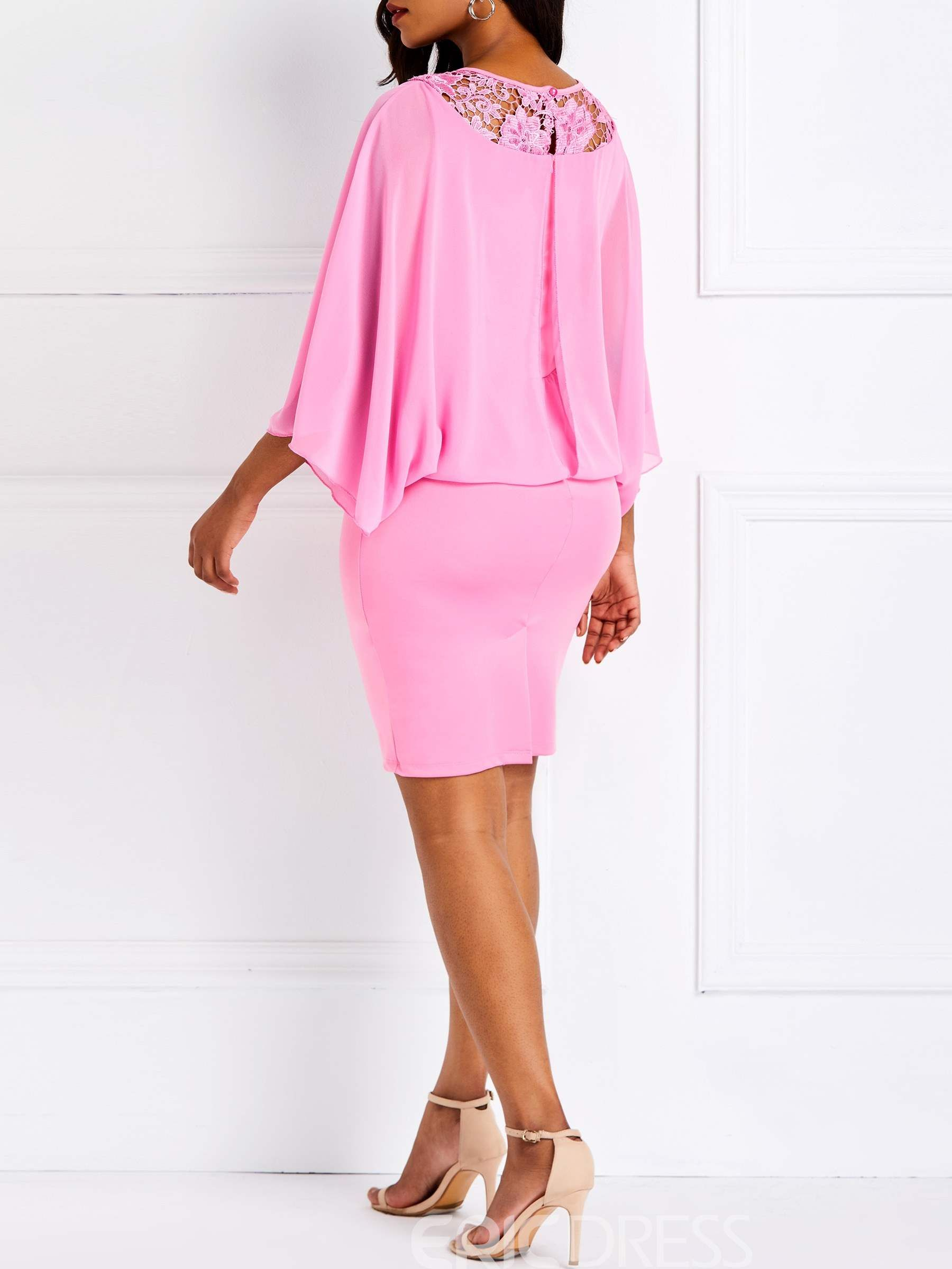 83626002fde Ericdress Knee-Length Lace Nine Points Sleeve Dress 13692364 - Ericdress.com
