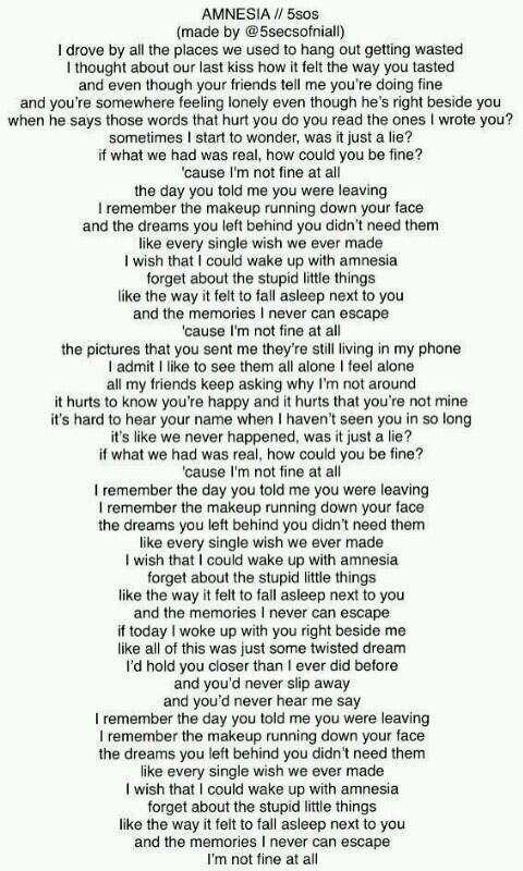 Amnesia Lyrics 5 Seconds Of Summer 5sos I Love This Song