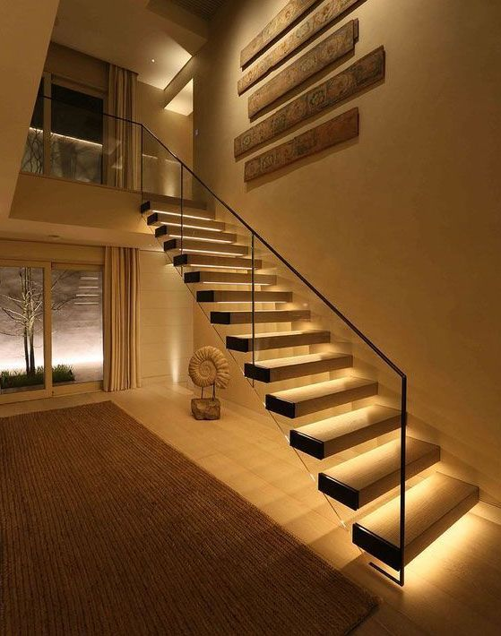 Straight Staircase With Underlights Feature Stairs In