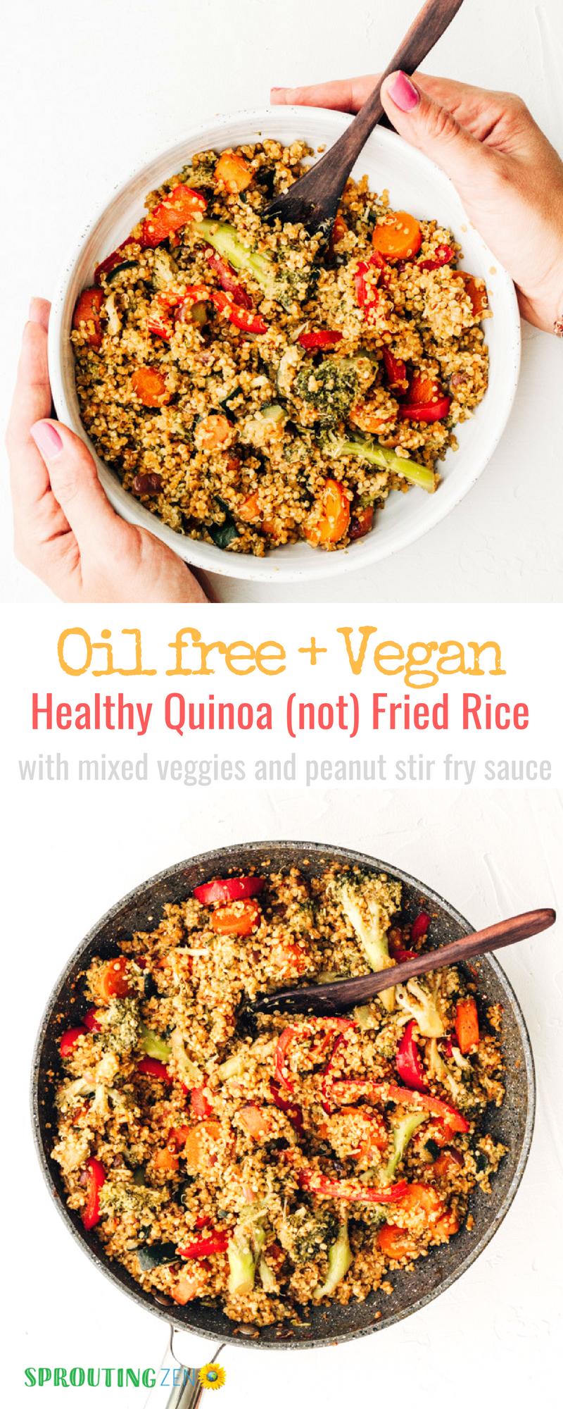 Healthy homemade oil-free quinoa (not) fried rice with homemade peanut stir fry sauce #stirfrysauce