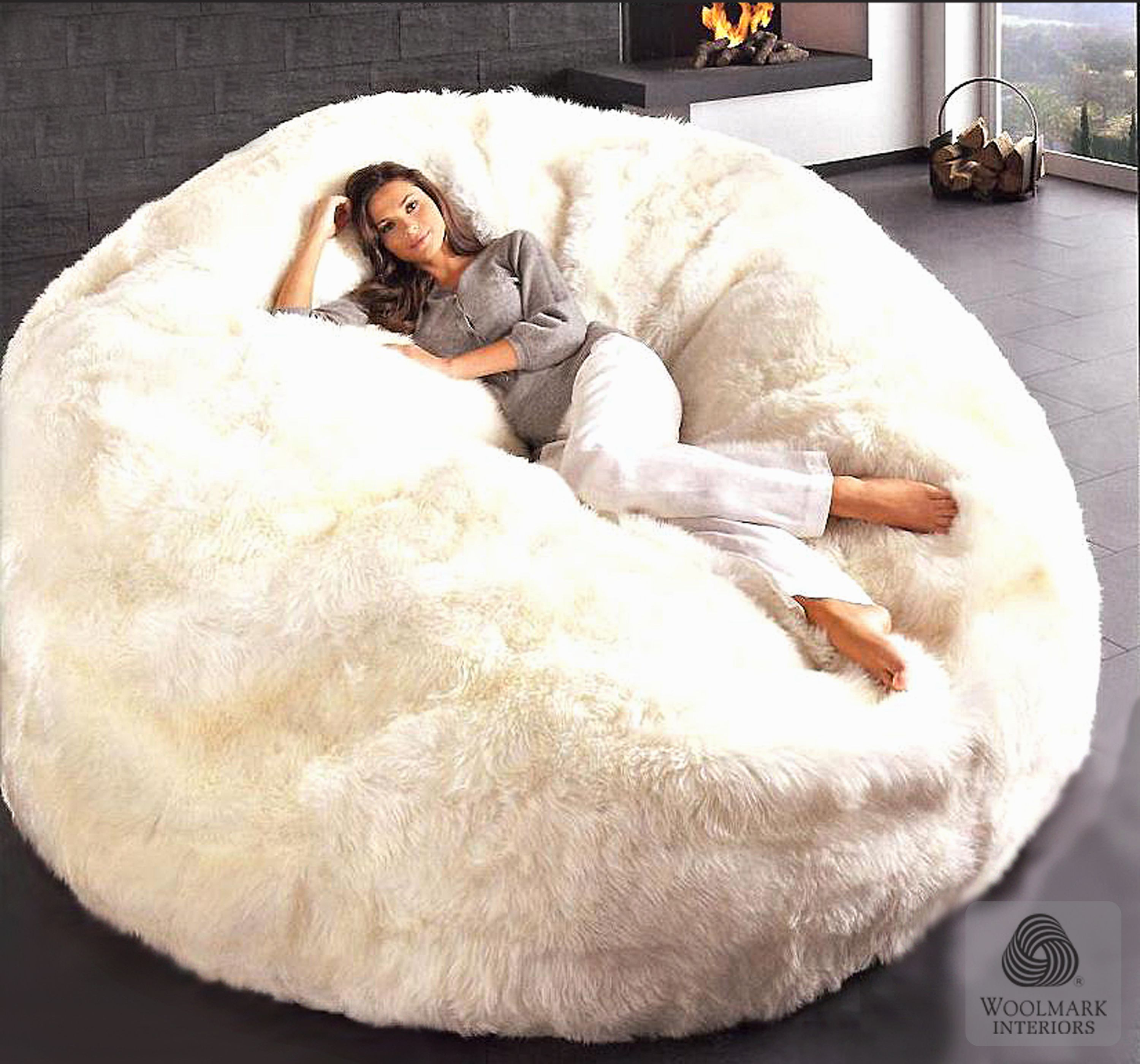 Pure Luxury Australian SHEEPSKIN in Ivory 6 Bean Bag Chair