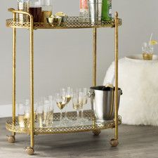 velma mirrored serving cart - Dining Room Serving Carts