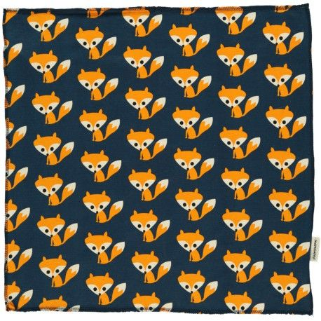 Square Scarf, dark blue with foxes, Maxomorra