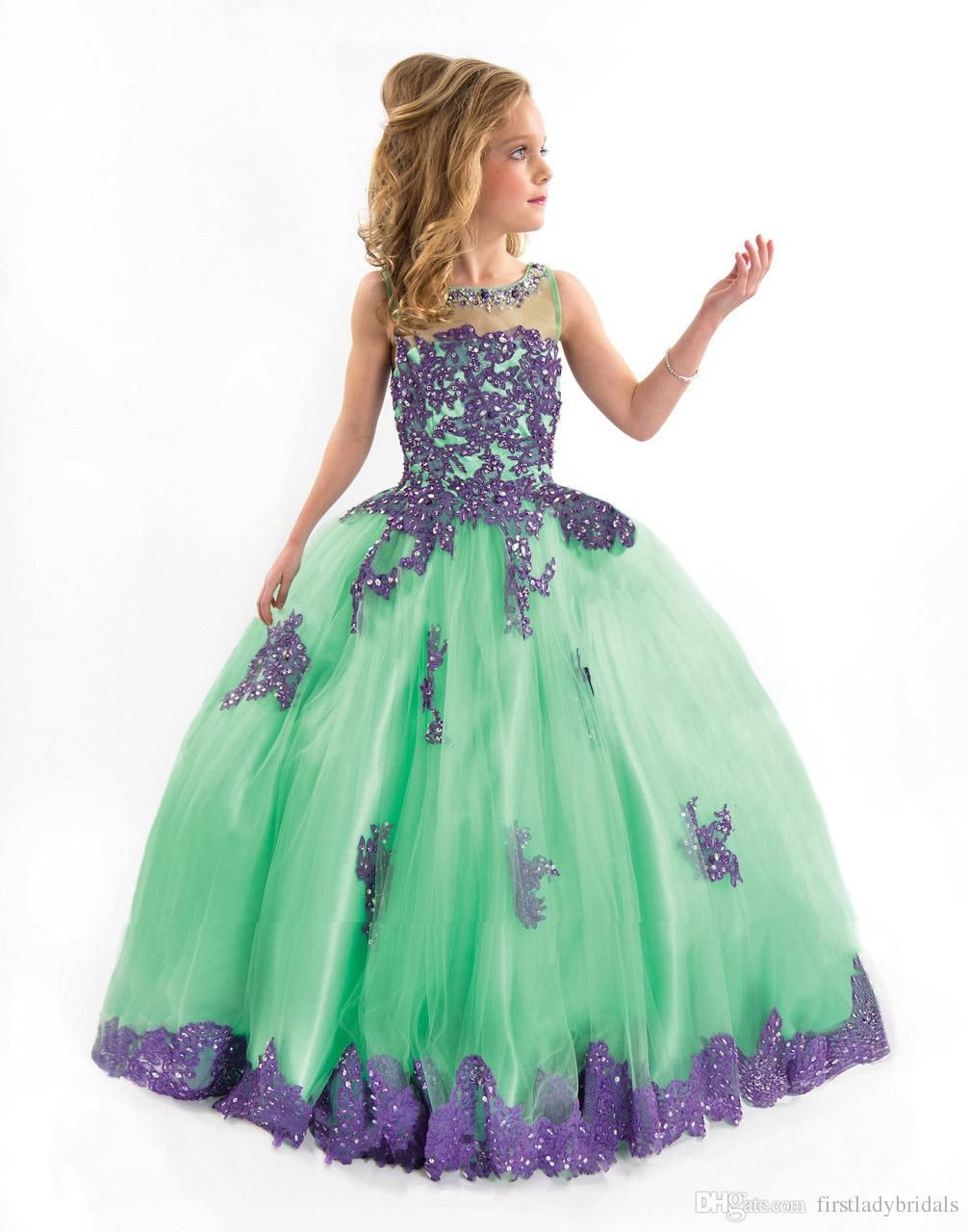 Jade Green Kids Prom Dresses 2016 Halter Neck Beaded Girls Pageant ...