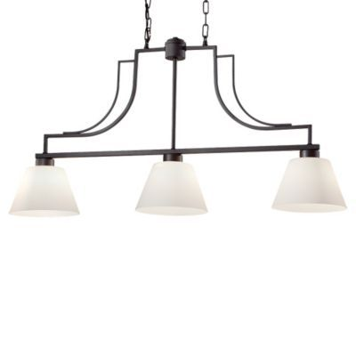 Weston F2762 3 Linear Suspension White Opal Etched Colonial Iron