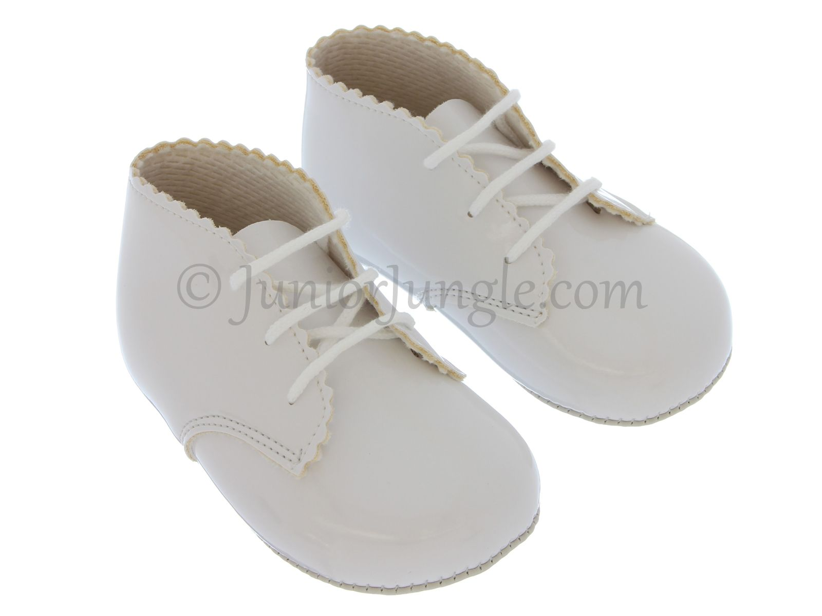 Soft pre-walker first pram bootees for babies, white patent with decorative edging.