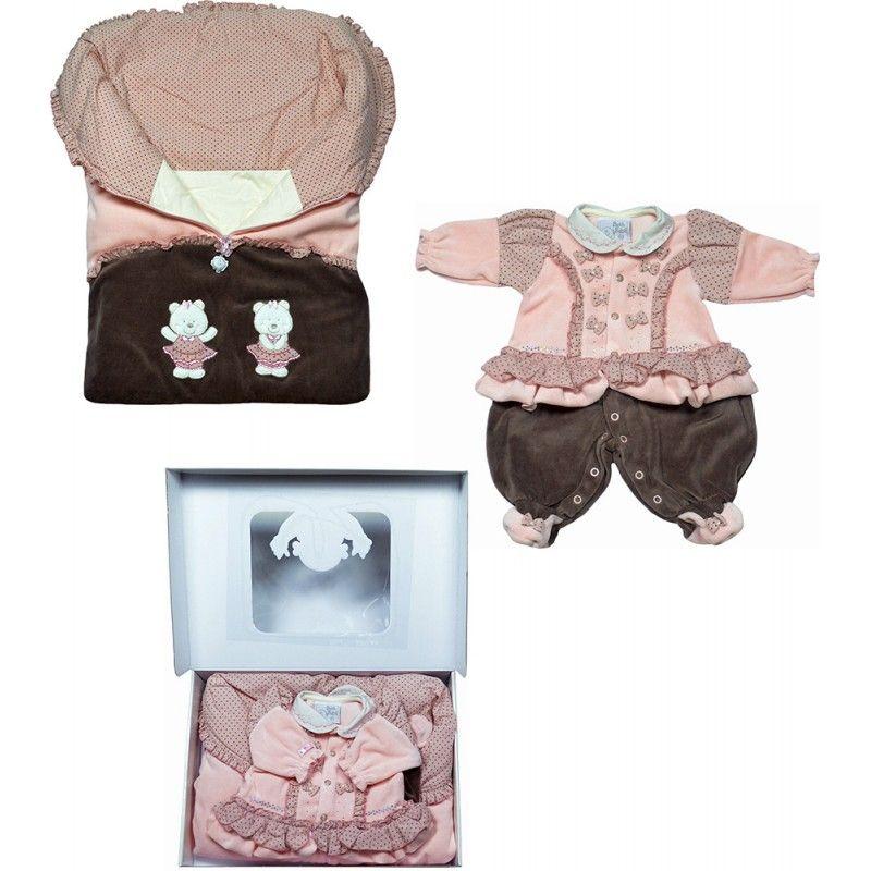 Saída Maternidade Porta Bebê E Macacão Jade, Sua bebê tão esperada saindo para um momento inesquecível.Macacão de plush com mix de tecido, 80% algodão, 20% poliéster, abotoamento frontal até o ent