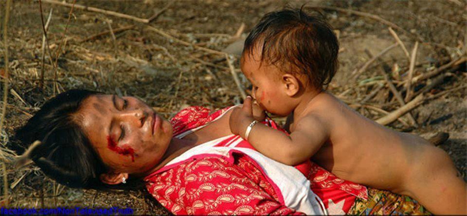 طفل في بورما يرضع ثدي أمه الميتة، وضمير عالمي نائم ملء جفونه، وأقوياء العالم مشغولون عن العالم باستنزاف خيرات العالم المادية والروحية. مأساة بورما لا تعنيهم، مأساة بورما، بعيدة عن مصالحهم، مثل مآسٍ أخ