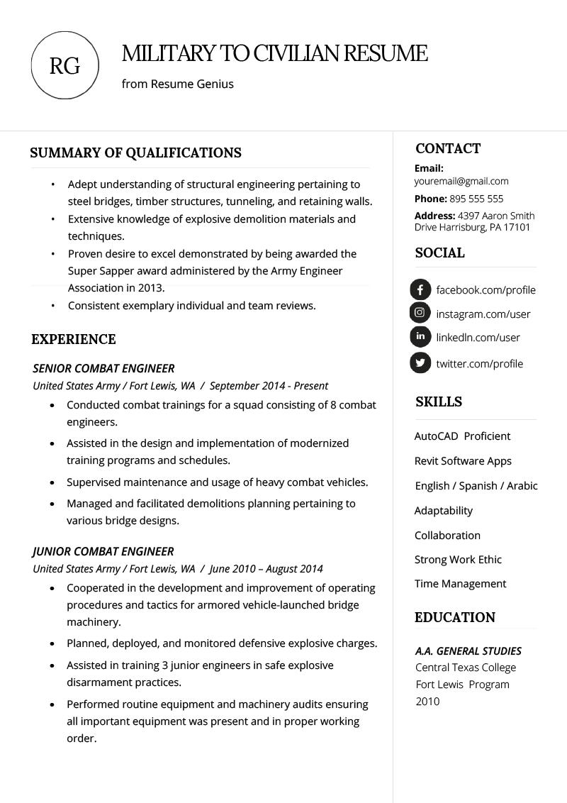 How to Write a Military to Civilian Resume Resume