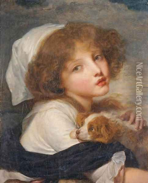 Young Girl With A Spaniel Oil Painting - Jean Baptiste Greuze