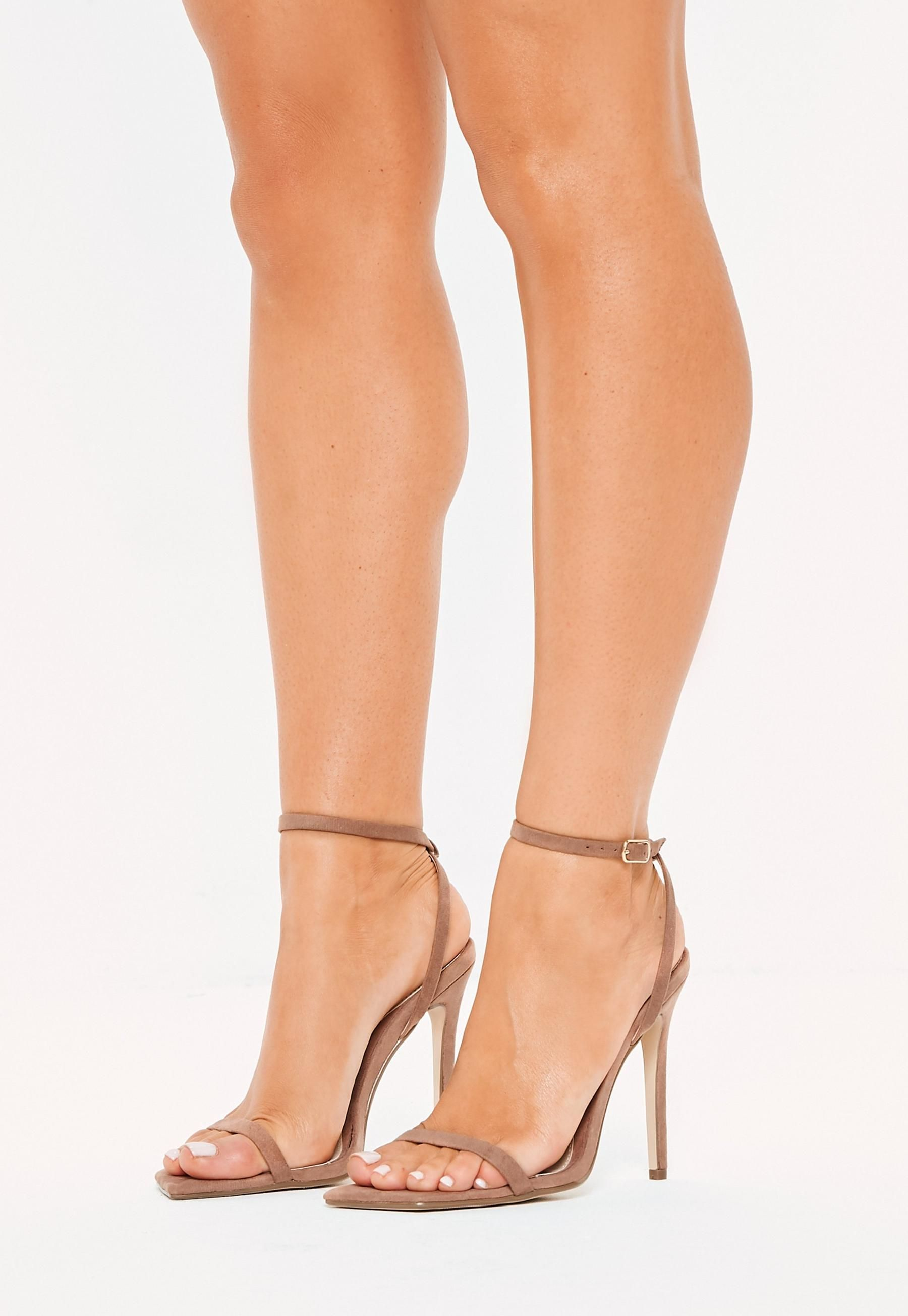7b6ab050229 Taupe Slanted Toe Barely There Heels in 2019 | S H O E S | Taupe ...