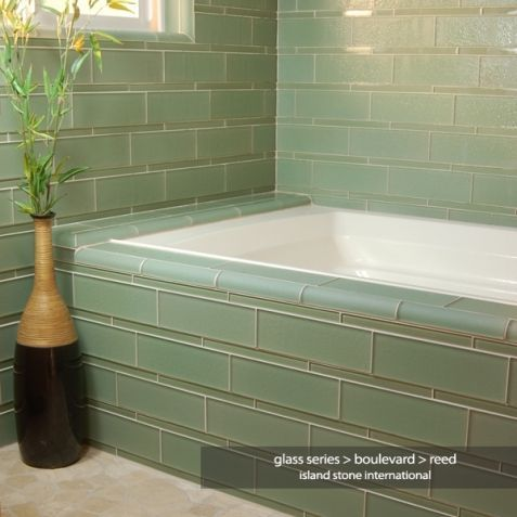 bathroom glass tile tub. sea glass tiles tub surround  Glass tile bathtub by Island Stone Home