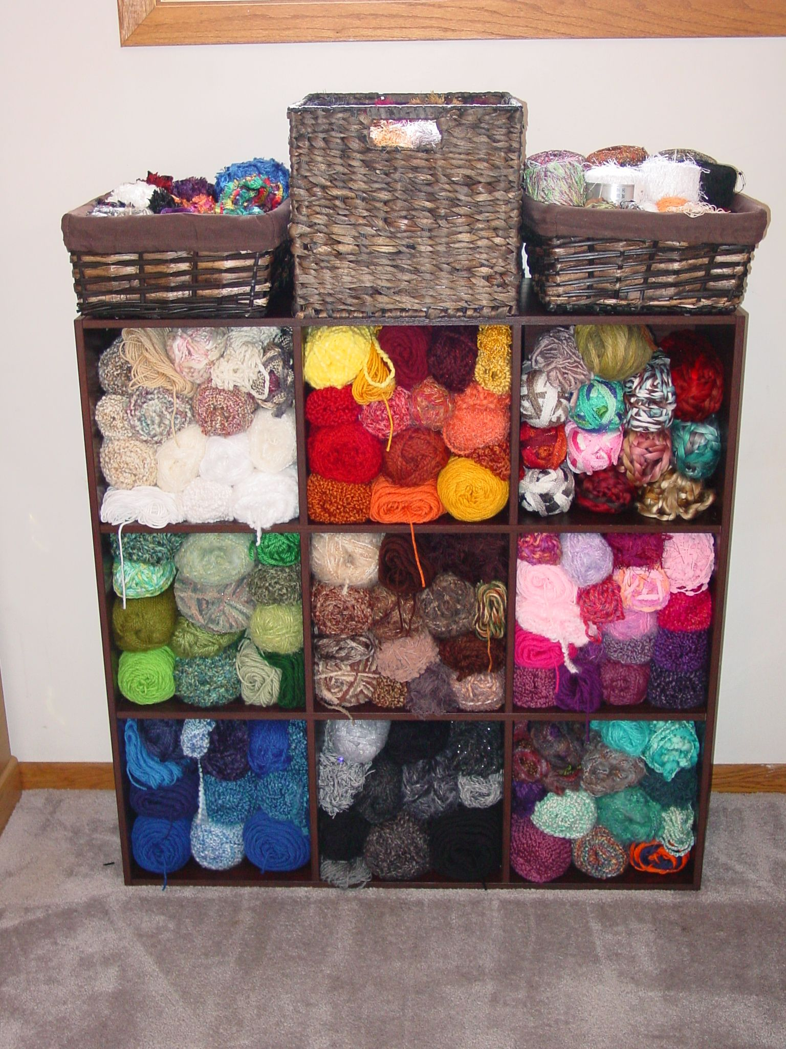 very easy and affordable yarn storage idea wooden storage