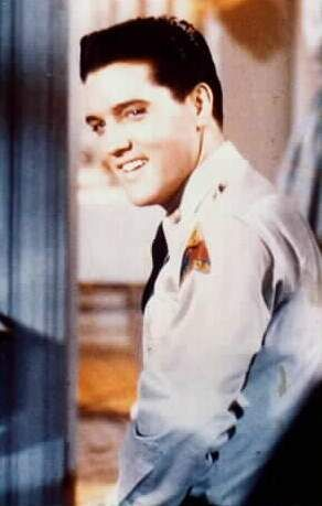 Close-up of Elvis on the set in the Spring of 1960.