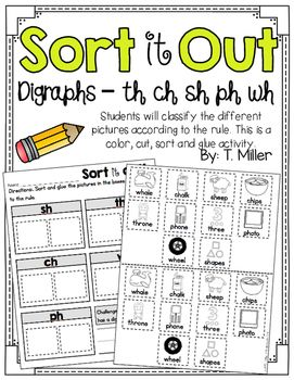 digraphs sh th ch wh ph sort group activities literacy and activities. Black Bedroom Furniture Sets. Home Design Ideas