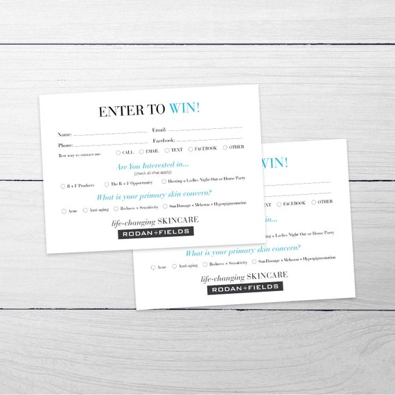 Rodan And Fields Customer Entry Form Rf Enter To Win Card Info